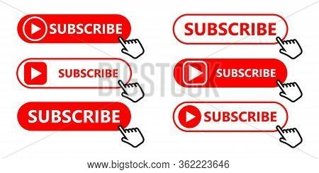 Social Media Subscription Button. Subscribe To The Video Channel, Blog And Newsletter. Red Button Wi