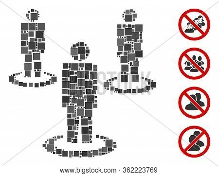 Collage People Icon Constructed From Square Elements In Random Sizes And Color Hues. Vector Square E