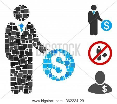 Collage Banker Icon United From Square Items In Random Sizes And Color Hues. Vector Square Items Are
