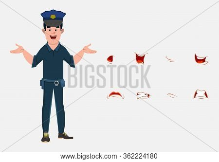 Policeman Cartoon Character With Lip Sync Set For Your Design, Motion And Animation. Custom Characte