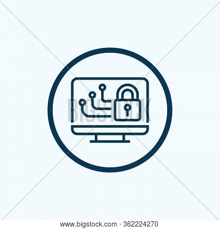 Computer Security Icon From Cyber Security Collection. Simple Line Computer Security Icon For Templa