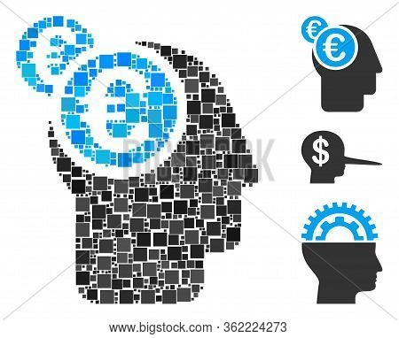 Mosaic Euro Businessman Intellect Icon Organized From Square Items In Variable Sizes And Color Hues.