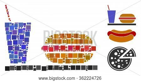 Mosaic Fastfood Icon United From Square Items In Variable Sizes And Color Hues. Vector Square Items