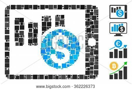 Collage Sales Chart On Pda Icon Composed Of Square Items In Random Sizes And Color Hues. Vector Squa