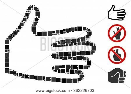 Collage Pan Fingers Icon Organized From Square Elements In Different Sizes And Color Hues. Vector Sq