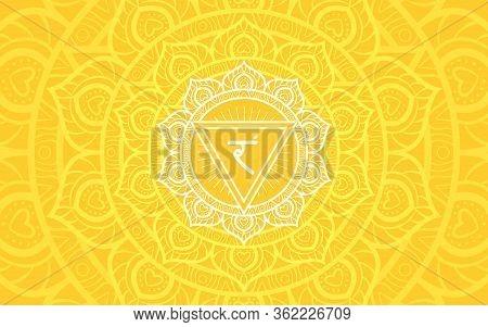 Manipura, Solar Plexus Chakra Symbol. Colorful Mandala. Vector Illustration