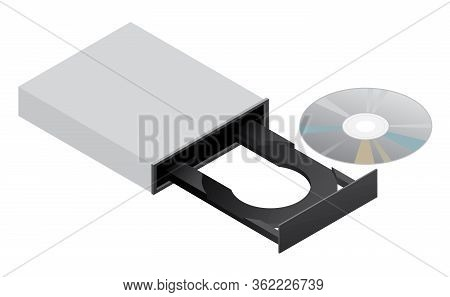 Cd Rom Dvd Disk Drive Isolated Vector Illustration