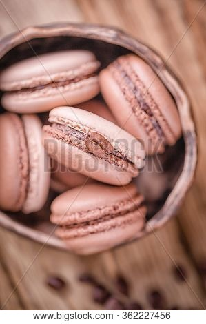 French Dessert Chocolate Macaroons And Macaroons With Coffee Beans