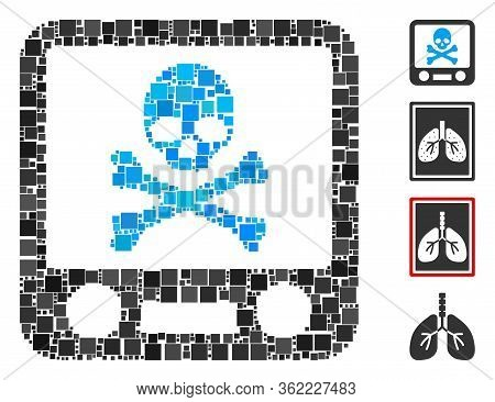 Collage Xray Screening Icon Organized From Square Items In Random Sizes And Color Hues. Vector Squar