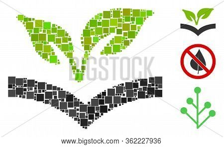 Mosaic Flora Knowledge Icon Constructed From Square Items In Different Sizes And Color Hues. Vector