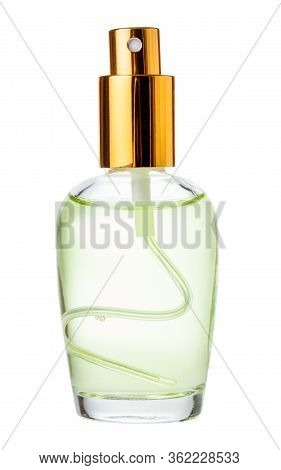 Spray Glass Bottle With Perfume Isolated On White Background