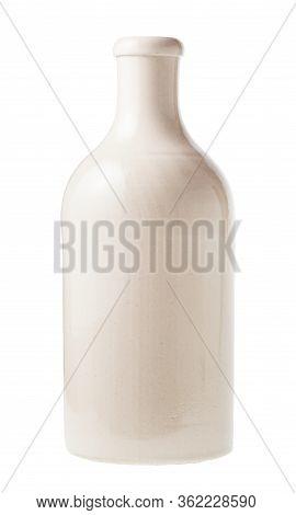 White Ceramic Bottle Isolated On White Background