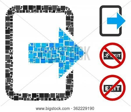 Mosaic Exit Door Icon Composed Of Square Items In Random Sizes And Color Hues. Vector Square Items A