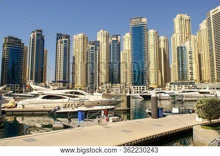 Dubai / Uae - November 7, 2019: Dubai Marina District With Beautiful Buildings And Yachts. Dubai Mar