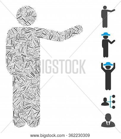 Linear Collage Showing Man Icon Designed From Narrow Items In Variable Sizes And Color Hues. Vector