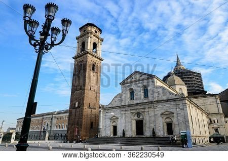 Turin, Italy - January 19, 2017: Saint John Square In Turin (italy), With The Facade Of The Cathedra
