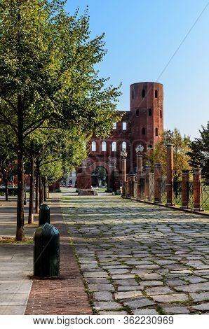 Remains Of The Palatina Gate, Ancient Entrance Of Turin (italy). The Palatina Gate Was Build During