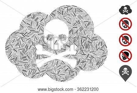 Line Collage Toxic Smoke Icon Designed From Thin Items In Various Sizes And Color Hues. Vector Line