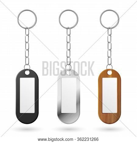 Keychain, Holder Trinket For Key With Metal Chain And Ring. Vector Realistic Template Of Black Plast