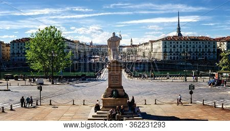Turin, Italy - May 7, 2017: Turin (piedmont, Italy) Seen From The Church Of The Gran Madre With Piaz