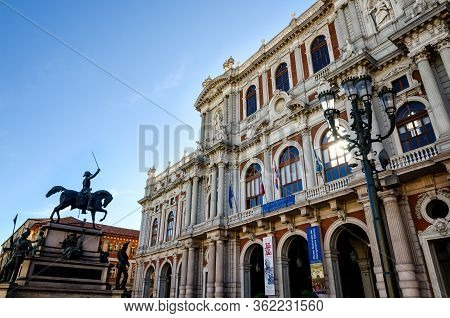 Turin, Italy - May 7, 2017: Piazza Carlo Alberto, One Of The Main Squares Of Turin (italy) With Pala