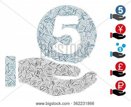 Linear Mosaic Five Cents Payment Hand Icon Organized From Narrow Items In Random Sizes And Color Hue