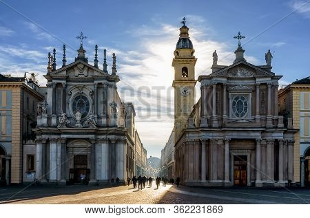 Piazza San Carlo, One Of The Main Squares Of Turin (italy) With Its Twin Churches