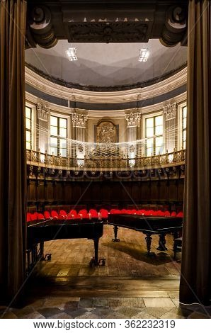 Turin, Italy - June 11, 2017: The Antique Baroque Choir Of Santa Pelagia Church In Turin, Italy, Wit