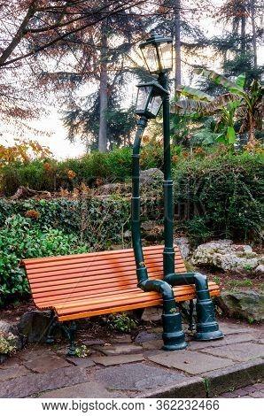 Turin, Italy - December 11, 2016: Urban Sculpture, Made By Rodolfo Marasciuolo, Of Two Street Lamp I