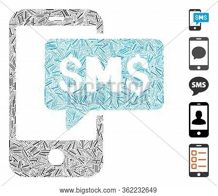 Line Collage Phone Sms Icon Composed Of Thin Elements In Different Sizes And Color Hues. Vector Hatc