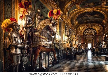 Turin, Italy - March 7, 2019: A View Of The Royal Armoury Of Turin (italy), National Museum Of Ancie