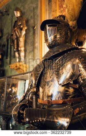 Turin, Italy - March 7, 2019: A Detail Of The Royal Armoury Of Turin (italy), National Museum Of Anc