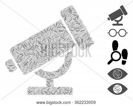 Line Collage Telescope Icon Designed From Straight Items In Various Sizes And Color Hues. Vector Hat