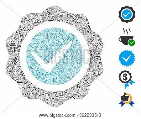 Linear Collage Valid Seal Icon Composed Of Straight Items In Variable Sizes And Color Hues. Vector L