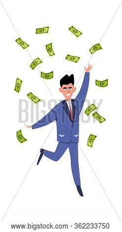 Rich Man. Happy Young Success Businessman Or Millionair Character Under Finance Rain Vector Money Co