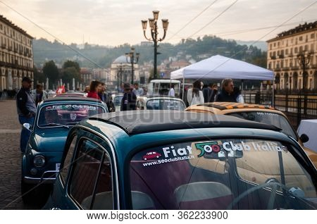 Turin, Italy - September 24, 2017 - Old Fiat 500 Classic Car Rally In Vittorio Veneto Square, Turin