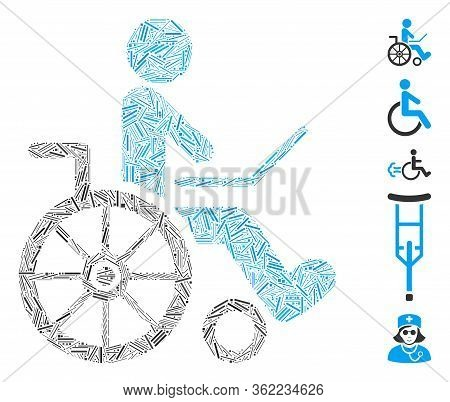 Line Mosaic Wheelchair Icon Constructed From Straight Items In Different Sizes And Color Hues. Vecto