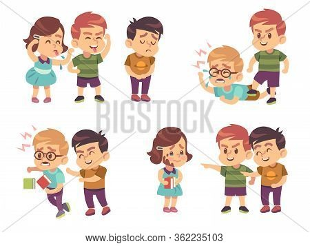Kids Bullying. Verbal And Physical Social Conflict Between Children, Battle Abuse, Quarrel And Mocki