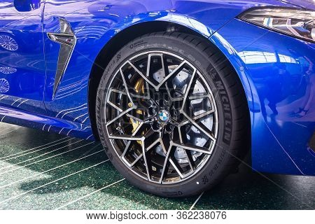 Bmw M8 Wheel With Michelin Tire And Yellow Brake Support. Bmw Welt, Munich, Germany, March 2020