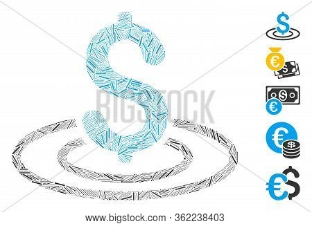 Hatch Mosaic Money Area Icon Composed Of Straight Elements In Different Sizes And Color Hues. Vector