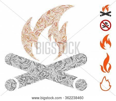 Line Collage Campfire Icon Designed From Straight Elements In Various Sizes And Color Hues. Vector H