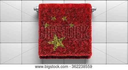China Flag Bath Towel Hanging On White Wall Background. Sanitary, Hygiene, Concept.  3D Illustration