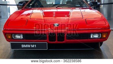 Red Bmw M1. Bmw Welt, Munich, Germany, March 2020