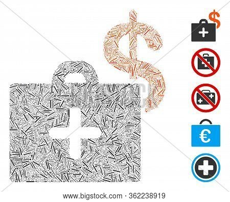 Line Mosaic Medical Fund Case Icon Designed From Thin Items In Random Sizes And Color Hues. Vector L