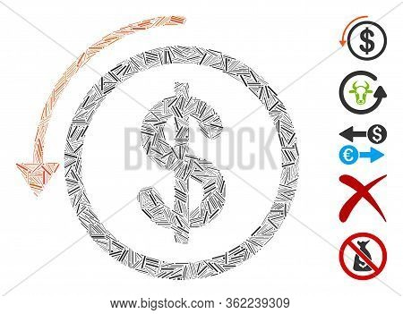 Hatch Mosaic Refund Icon Organized From Straight Items In Different Sizes And Color Hues. Vector Lin