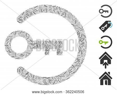 Hatch Collage Login Key Icon Constructed From Thin Items In Random Sizes And Color Hues. Vector Line
