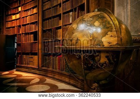 Vienna, Austria - May 20, 2017: Main Hall Of The Historical Austrian National Library In Vienna (aus