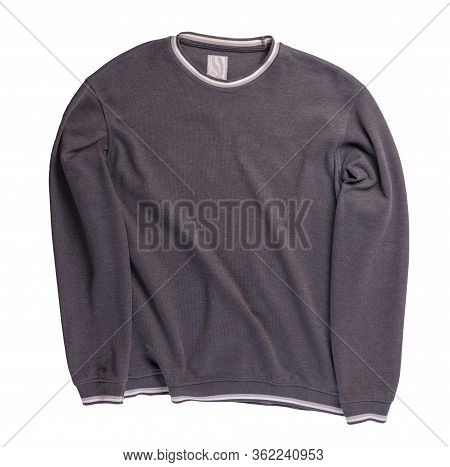Gray White Sweatshirt Isolated On A White Background. Sweatshirt Top View. Sporty Style