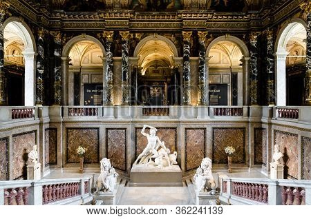 Vienna, Austria - May 20, 2017: The Grat Staircase Of The Kunsthistorisches Museum (fine Art History