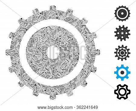 Linear Collage Cog Wheel Icon Organized From Narrow Elements In Variable Sizes And Color Hues. Vecto